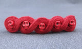 Skull Lucet Cord Hair Barrette in Red or Black