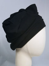 Draped Turban in Black Brushed Jersey