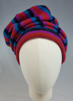 Draped Turban in Retro Gem Tone Sweater Stripe