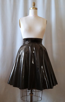 High Waisted Black Stretch Vinyl Circle Skirt