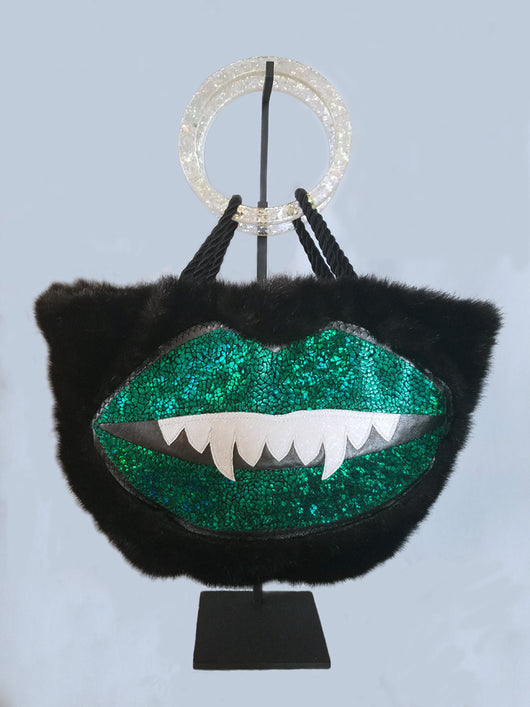 Green Sparkle Monster Mouth Faux Fur Purse