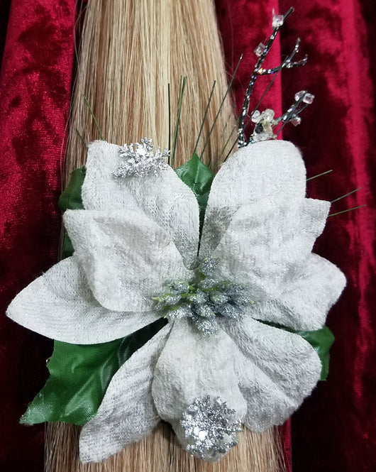 Silver Grey Velvet Poinsettias Hair Ornament