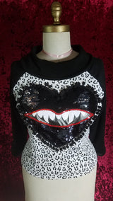 Black Hearted Maneater Monster Mouth Mod Graphic Leopard Print Top
