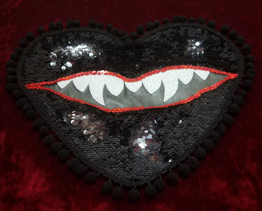 XL Black Hearted Maneater Monster Mouth Patch