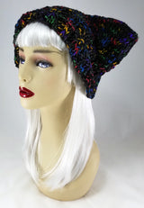 Cat-Bat Hat in Rainbow Black