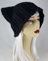 Cat-Bat Hat in Super Chunk Black Yarn