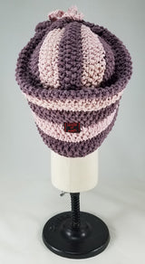 Deep Lavender with Baby Pink Stripes Shaped Turban OOAK