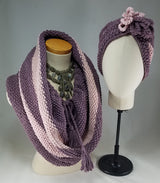 Deep Lavender with Baby Pink Stripes Drawstring Cowl OOAK