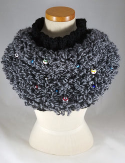 Evil Eye Grey Loop Capelet Sweater OOAK