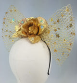 Golden Mermaid Bow Fascinator Headband
