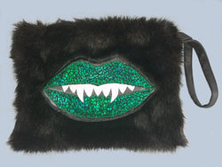 Green Sparkle Mini  Monster Mouth Faux Fur Large Wristlet