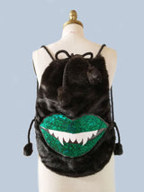 Green Sparkle Monster Mouth Faux Fur Convertable Backpack Messenger Bag