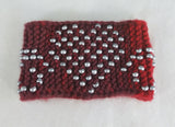 Silver Beaded Heart Swirls on Ombre Red Knitted Bracelet