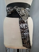 Reversible Pocket Obi Belt in Silver Spiderweb & Black
