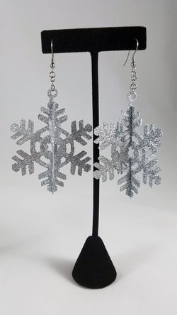 Silver Glitter 3D Snowflake Earrings