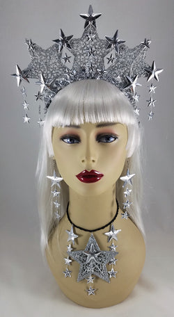 Silver Stars Upon Stars Fascinator Crown