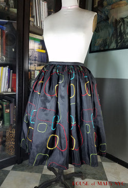 Black Atomic Bright Geometric Embroidered Full Skirt- Custom Sized
