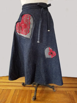 Hearts N' Spiders Dark Denim Wrap Skirt