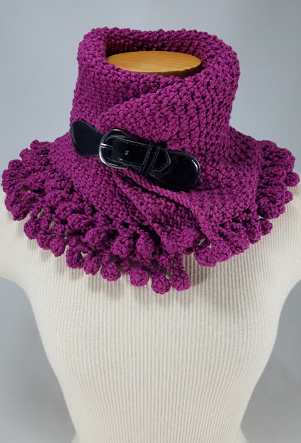 The Sexy Electric Violet Buckle Neckwarmer OOAK Handknit
