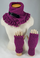The Sexy Electric Violet Fingerless Gloves OOAK Handknit