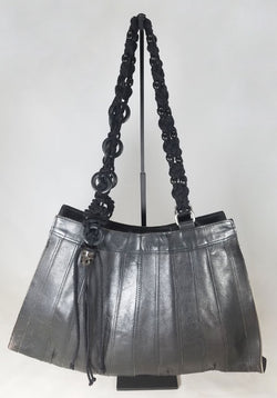 Vintage Reclaimed Large Black Leather Bag with Beaded Lucet Cord Handles & Skulls