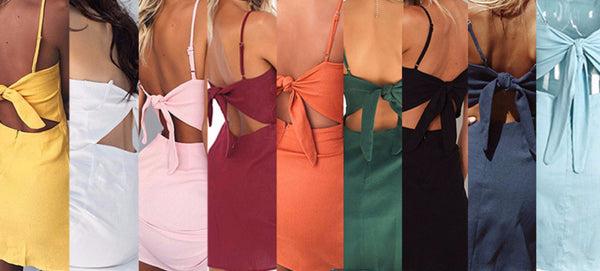 Women's Tasty Picnic Hollow-Out Spaghetti Strap Back Knot Dress (Multiple Colors Available)