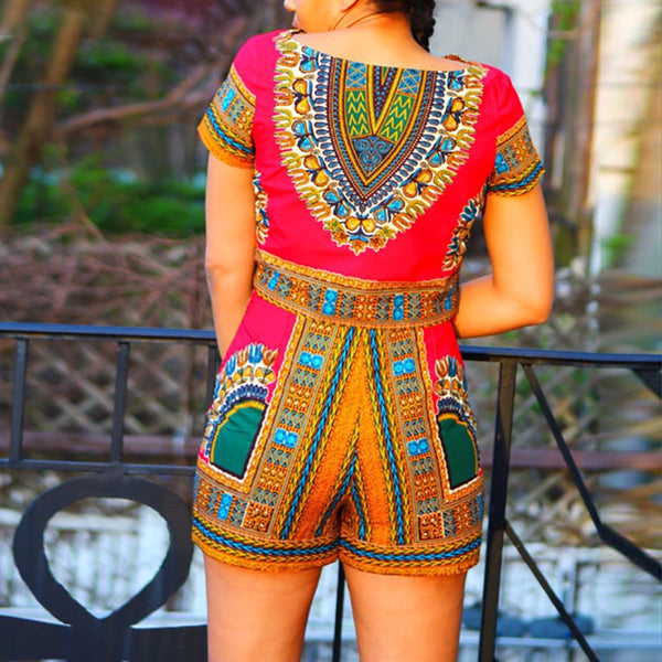 Women's 2-Piece Dashiki African Tribal Floral Pattern Outfit (Multiple Colors Available)