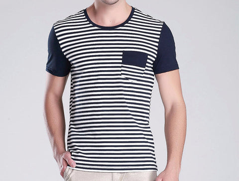 Men's Deco Striped Short-sleeve T-shirt in Navy Blue / White