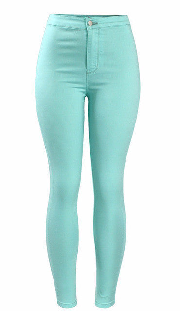 Women's Mint High Waist Stretchy Pencil Jeans