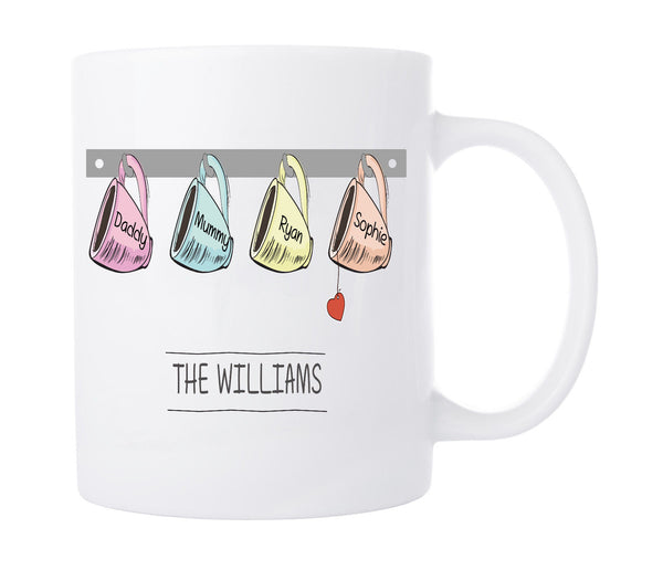 PERSONALISED FAMILY HANGING MUGS - BUILD YOUR OWN FAMILY KITCHEN GIFT CUTE PIC