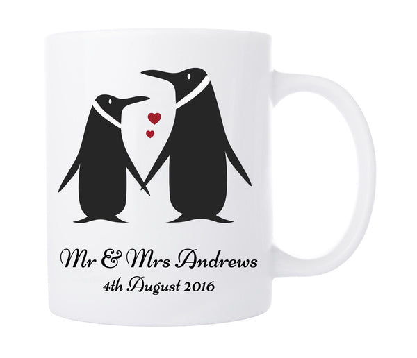 PERSONALISED PENGUIN LOVE MUG WEDDING ENGAGEMENT GIFT COFFEE TEA CUP
