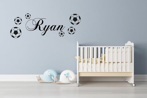 PERSONALISED NAME FOOTBALL - WALL ART STICKER DECAL BOYS