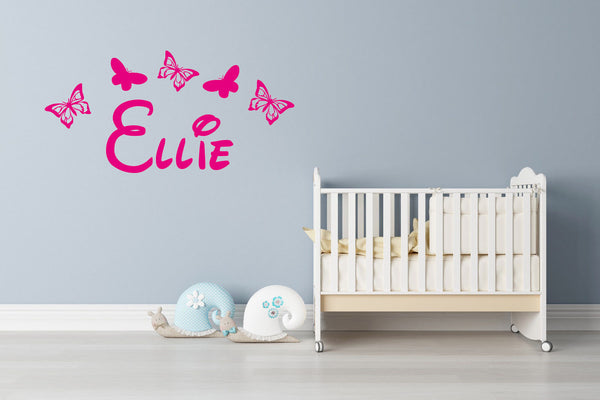 Personalised Wall Art Sticker Name - Butterfly