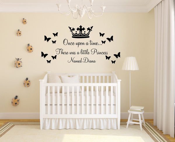 Personalised Once Upon A Time Quote - Wall Art For Girls With Butterfly