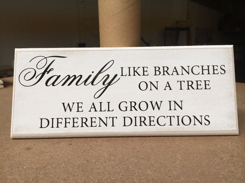 "Plaque, Family Branches Tree, Inspirational - Shabby Chic Sign 10""x4"" p045"