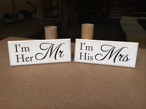 "His & Hers Plaques, Mr & Mrs - Romantic, Shabby Chic, Sign 10""x4"" p027"