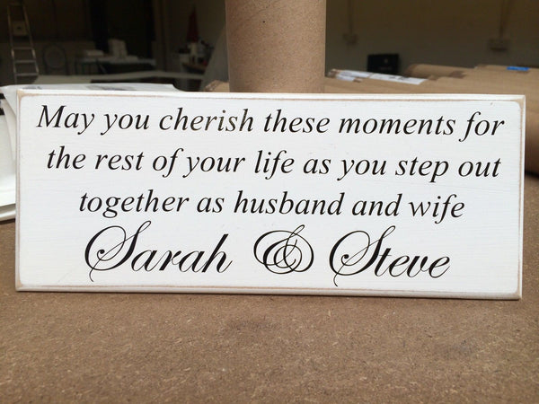 "Romantic, Personalised, Husband & Wife, Memories - Shabby Chic Plaque 10""x4"" p04"