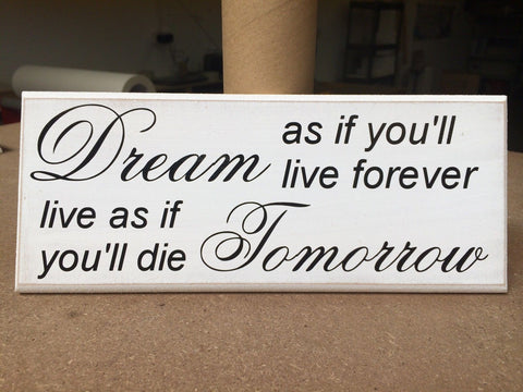 "Shabby Chic plaque, Dream Live Forever Inspirational Quote 10""x4"" p055"