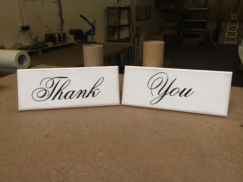 "Thank You, Two Plaque Set, Sign, Plaque, Shabby Chic, 10""x4"" p060"