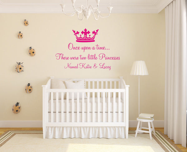 Personalised Once Upon A Time Quote - Two Names - Wall Art With Crown