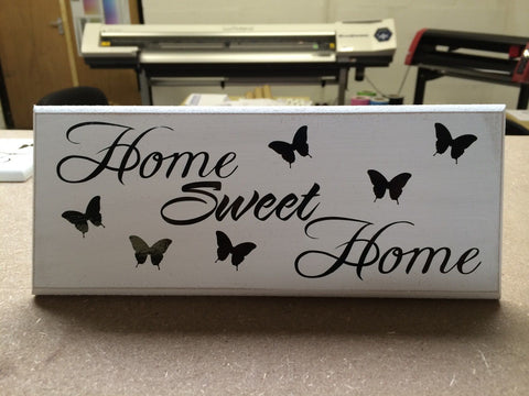 "Home Sweet Home - Shabby Chic Plaque 10""x4"" size 16 Colours p030"