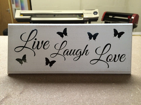 "Live Laugh Love - Shabby Chic Plaque 10""x4"" size 16 Colours p038"