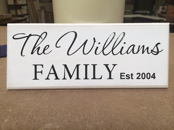 "Personalised Family Established Date, Shabby Chic Sign Plaque 10""x4"" p043"