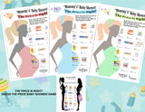 'Personalised PRICE IS RIGHT' Adorable Baby Shower Game 10/20 Sheets Players CUTE!