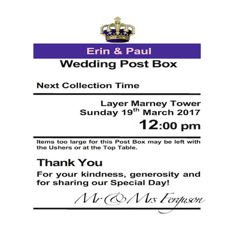Personalised Royal Mail Post Box Purple Wedding Card