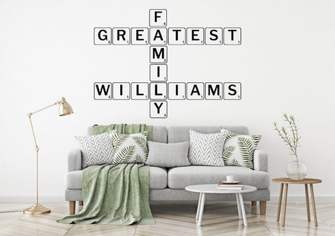 Personalised Family Scrabble Game Sticker Wall Art Interior Design AG35