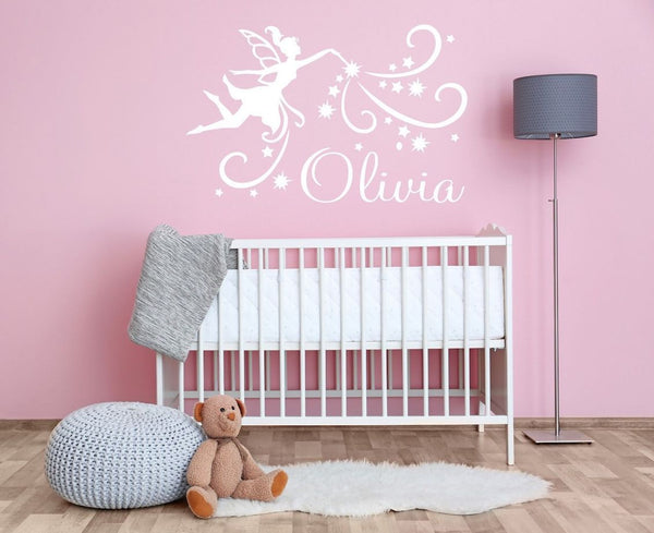 Personalised Name and Magical Fairy Wall Sticker For Girls Bedroom Wall Art AG39