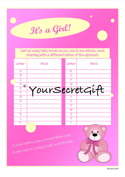 Baby Shower Game GIRL - 4x list as many baby words 1 minute A5 sheets