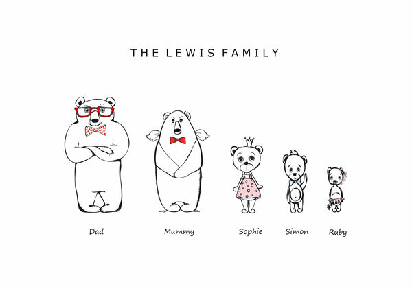 FAMILY FUNKY BEARS, BUNNIES & CATS PRINT - BUILD YOUR OWN FAMILY PHOTO
