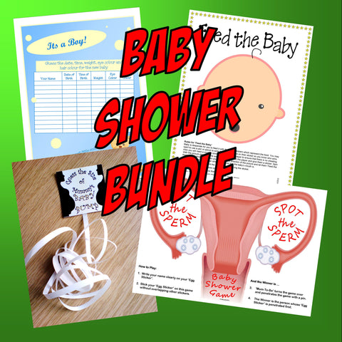 'BABY SHOWER BUNDLE' - 4 Games-Guess date, baby bump, feed the baby, spot sperm